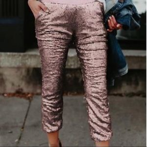 Rose Gold sequin jogging pants- small